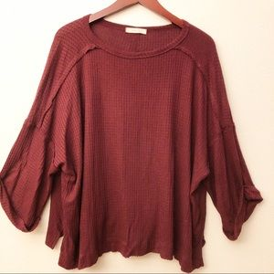 ENTRO Waffle Knit Slouchy Top SZ S